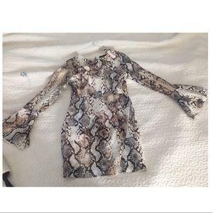Snake skin print mini dress